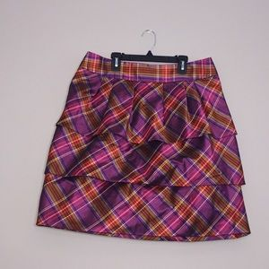 Etcetera Plaid Tiered Ruffle Skirt size 12